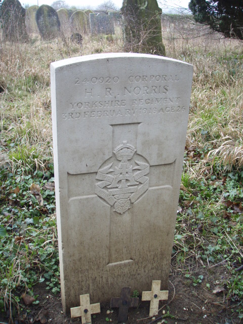 The headstone for Private Norris in Layston Churchyard Extension