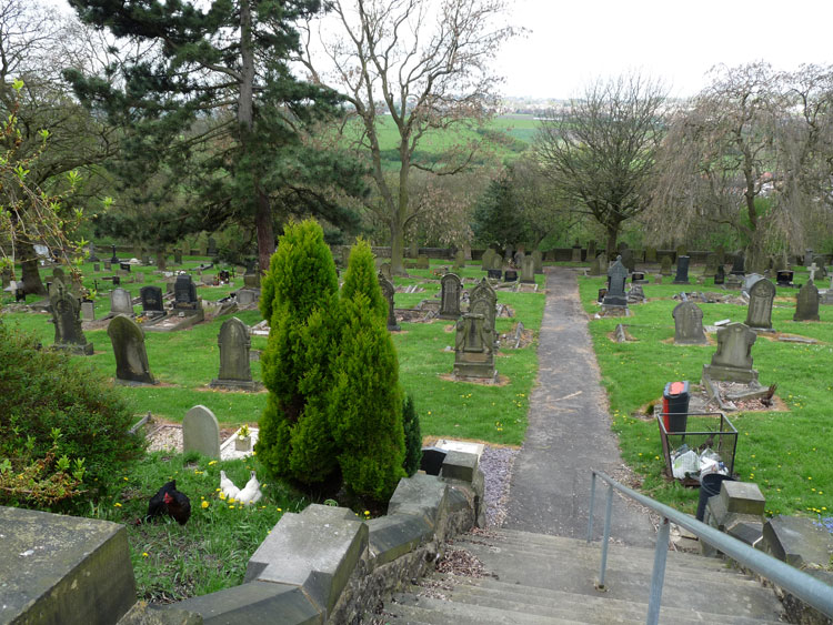 A General View of Leeds (Farnley) Cemetery, - complete with chickens in the foreground.