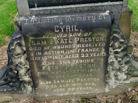 Private Preston's Family Headstone.