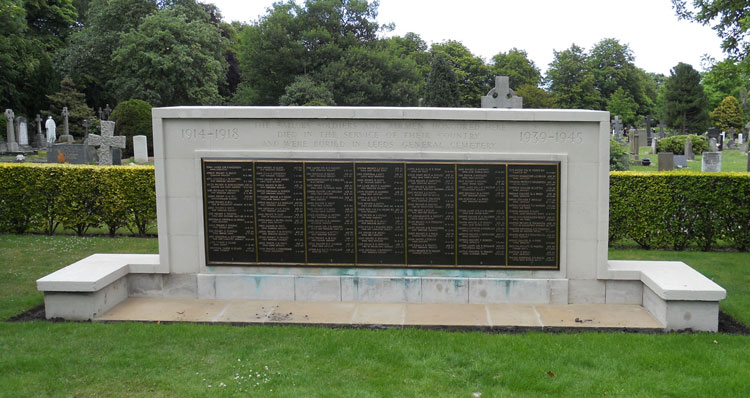 The screen wall in Leeds (Lawnswood) Cemetery commemorating those who were buried in the Leeds Geberal Cemetery. This includes the commemoriation of one soldier who served in the Yorkshire Regiment.