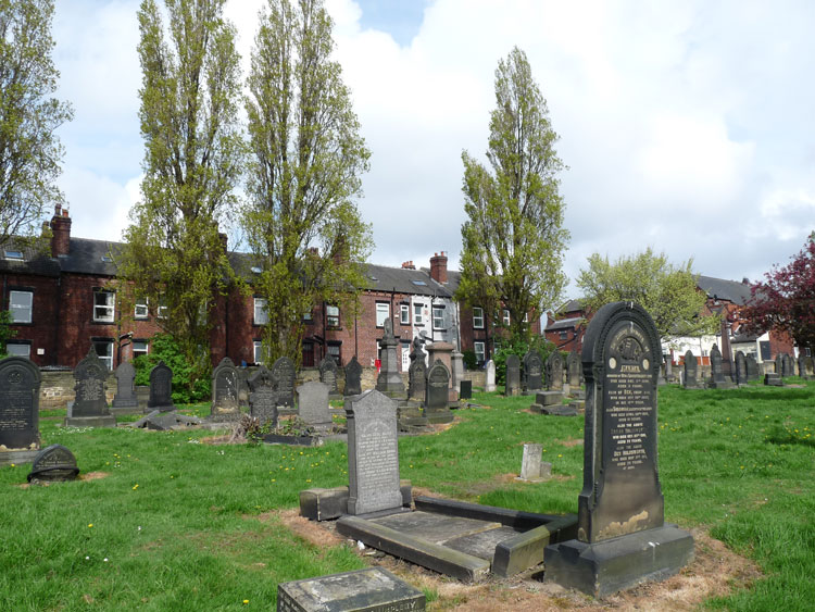 Leeds (New Wortley) Cemetery with Serjeant Bates' Headstone in the centre.