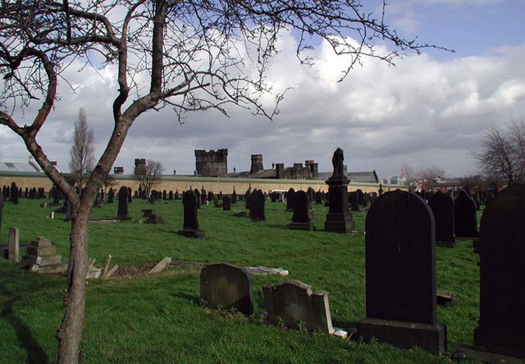 New Wortley Cemetery, Leeds, looking East-Northeast towards H.M. Prison, Armley