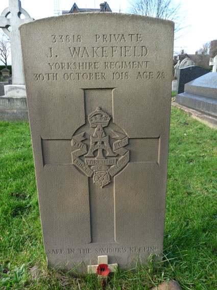 Private Wakefield's headstone in Lytham (St. John the Divine) Churchyard