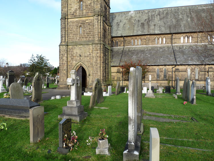 Private Wakefield's headstone in Lytham (St. John the Divine) Churchyard - left foreground