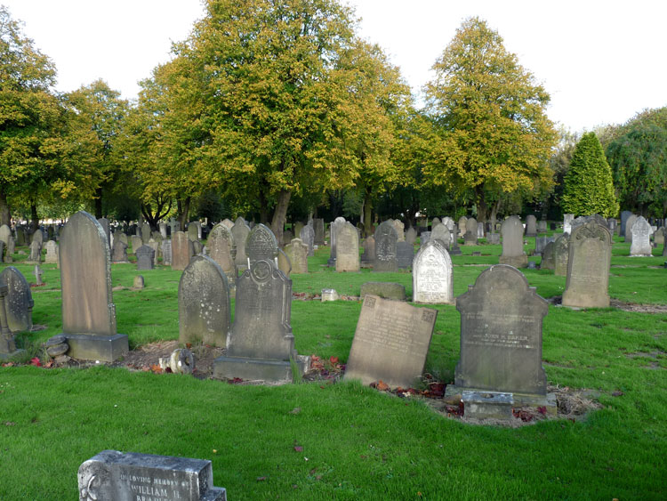 Manchester (Gorton) Cemetery - The Andrews headstone is second on the right in the front row.