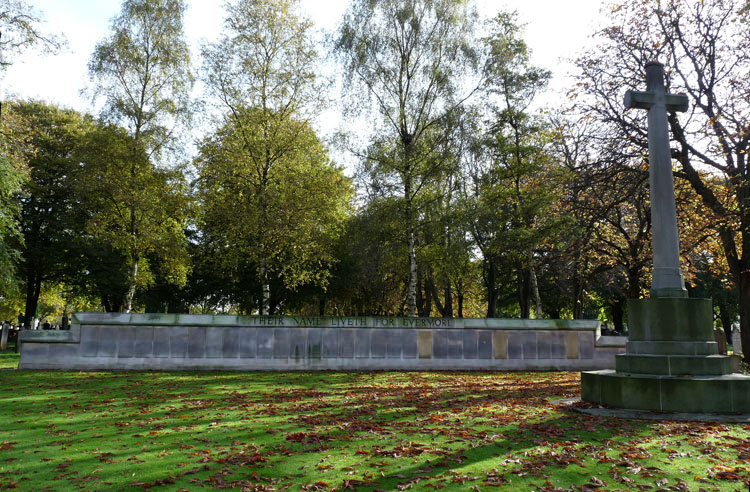 Manchester Southern Cemetery - The First World War Screen Wall on which Private Smith is commemorated.