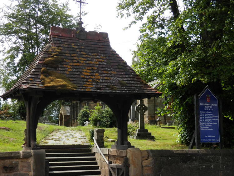 The Lych Gate Entrance to St. Cuthbert's, Marton. To the right is seen the Richardson family headstone.