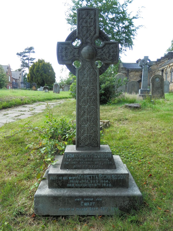 The Richardson Family Headstone in the Churchyard of St. Cuthbert's, Marton