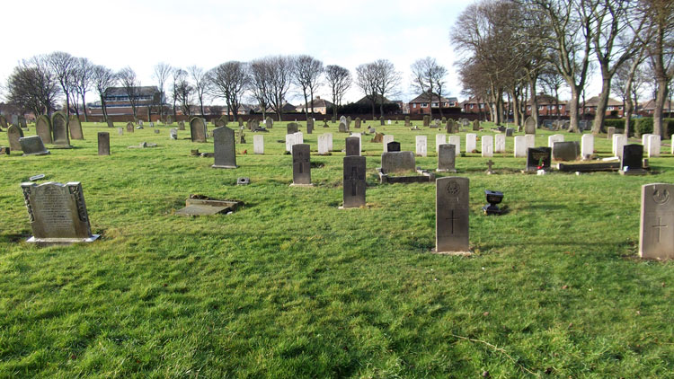 A general view of Sunderland (Mere Knolls) Cemetery, - Private Higgins' grave in centre, rear-foreground.