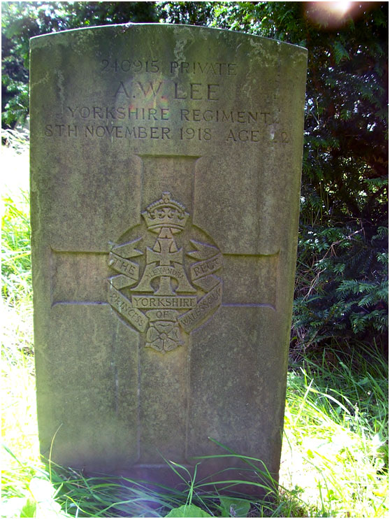 The grave of Private A W Lee in Nafferton (All Saints') New Churchyard