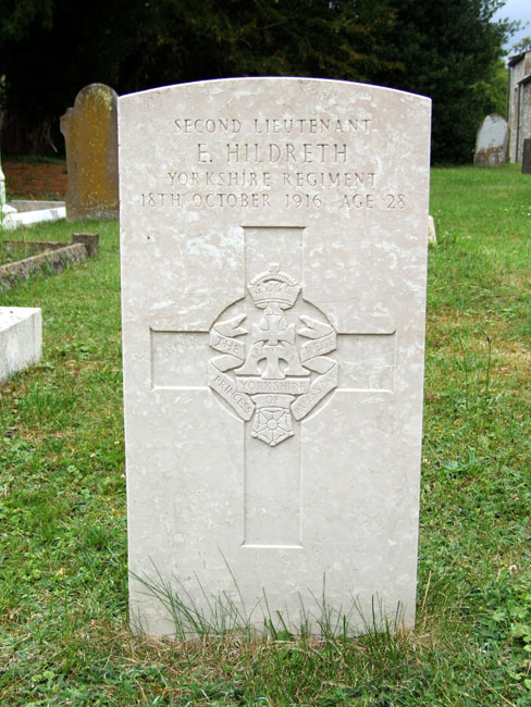 The grave of 2nd Lieutenant Ernest Hildreth in All Saints' Churchyard, Narborough