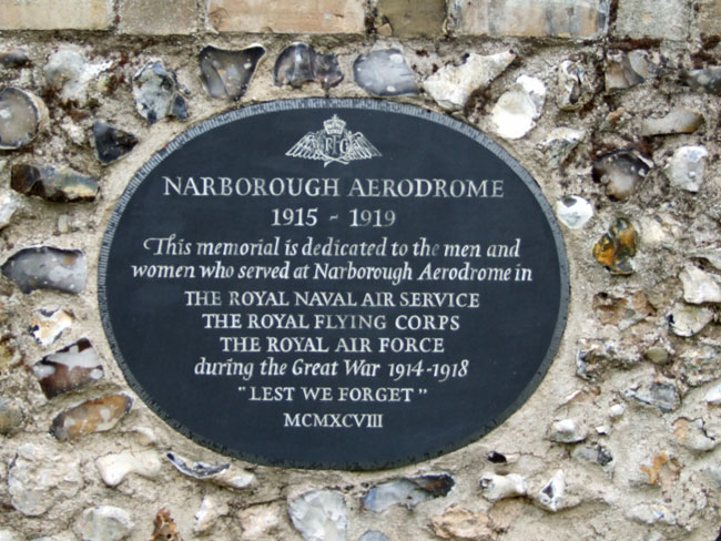 The plaque located in the churchyard of All Saints Church, Narborough, that commemorates those who served at Narborough Aerodrome.