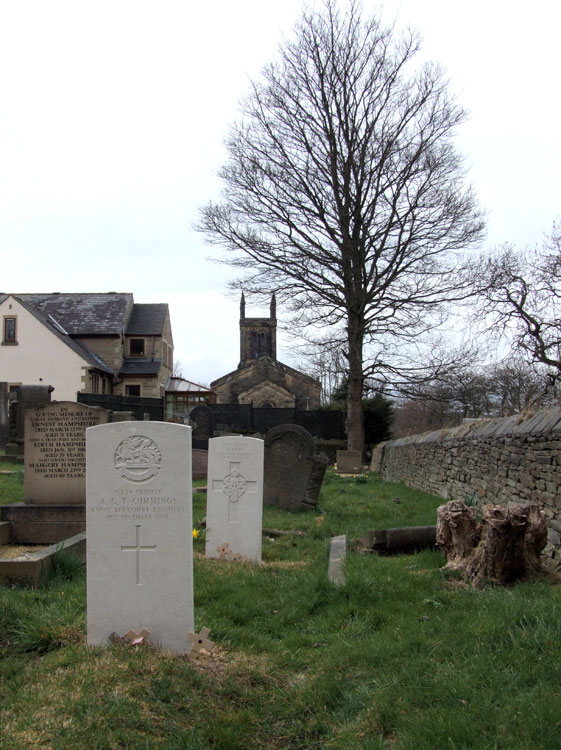 A view of New Mill (Christ Church) Churchyard Extension showing two of the three CWGC headstones