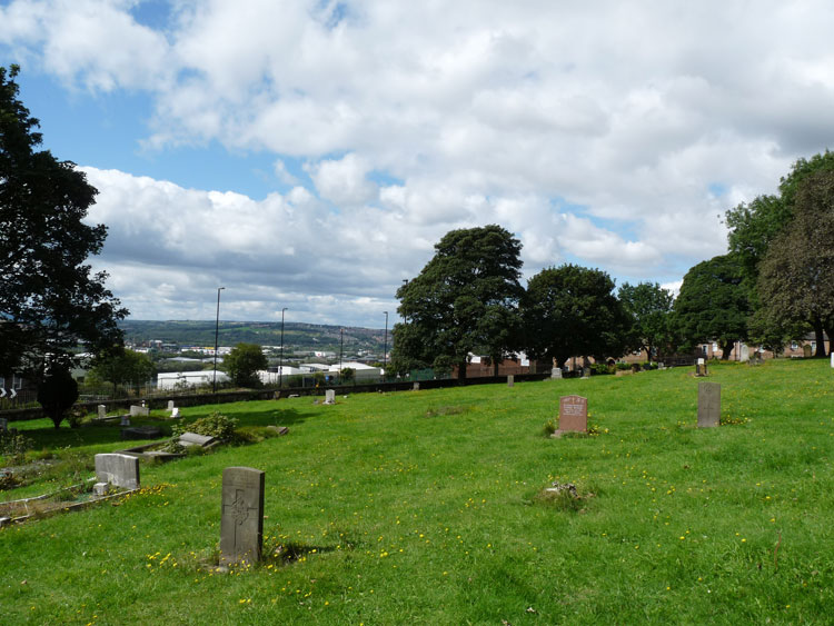 Private Bell's headstone, - left foreground, in Newcastle-upon-Tyne (St. John's Westgate and Elswick) Cemetery