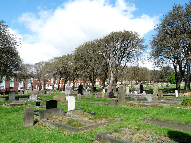 Newcastle-upon-Tyne (St. John's Westgate and Elswick) Cemetery. Private Gibson's headstone is in the left foreground.