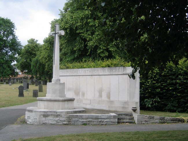 The Cross of Sacrifice and Screen Wall in Nottingham General Cemetery