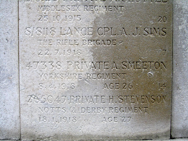 The Name of Pte A Smeeton on the Screen Wall in Nottingham General Cemetery