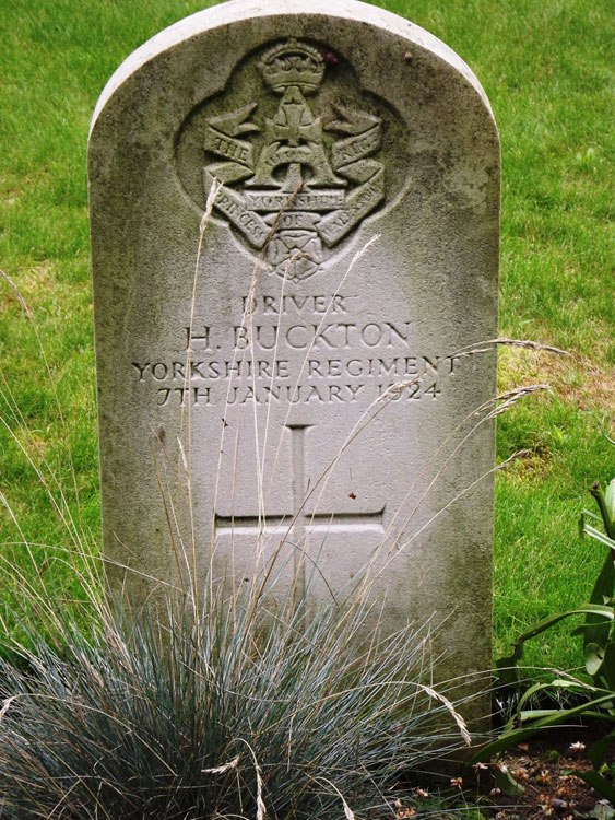 The headstone for Driver H Buckton of the Yorkshire Regiment, Died 7 January 1924