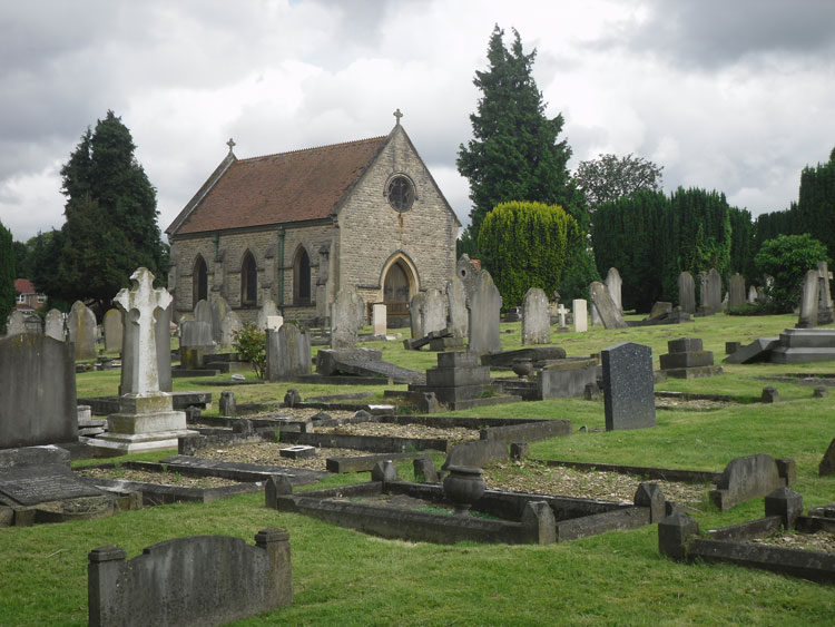 Oxford (Rose Hill) Cemetery, with Private Harse's headstone positioned in front of the chapel entrance doors.