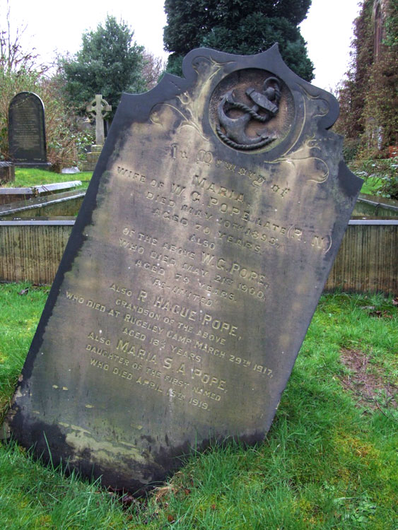 The Pope Family Headstone in Rotherham (Moorgate) Cemetery