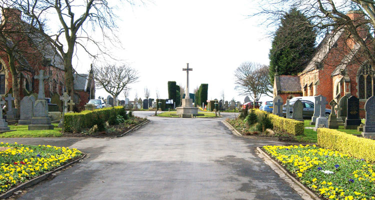 The entrance to Seaham Cemetery, showing the Cross of Sacrifice.