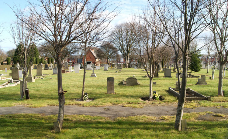 Seaham Cemetery, showing Private Burney's headstone in the centre