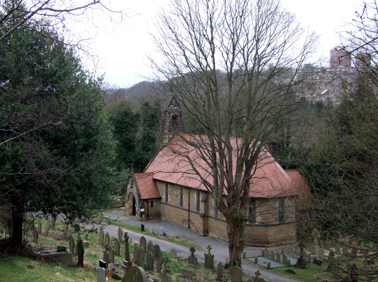 A view of Sheffield (St. Michael's) Roman Catholic Cemetery showing the chapel
