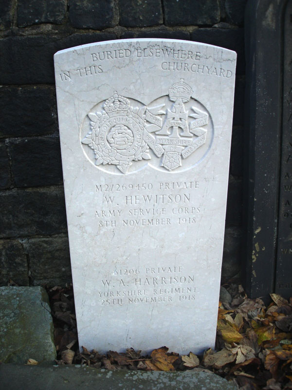 Private William Arthur Harrison, 61206. 18th Battalion the Yorkshire Regiment. Son of John William & Mary Alice Harrison, of 124, Clarendon Rd., Morecambe, Lancs. Died at home 25 November 1918.
