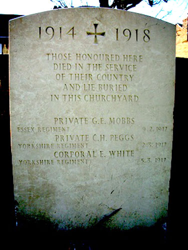 The Special Memorial in Springfield (Holy Trinity) Churchyard to Privates Mobbs & Peggs, and Corporal White.