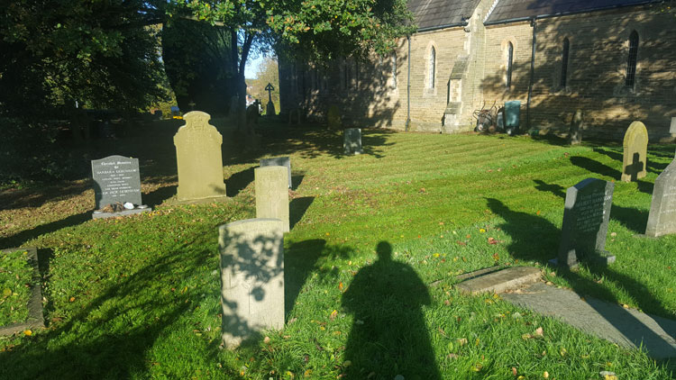 The Headstones for Private Stockdale (foreground) and L/Cpl Rennison in Stamford Bridge (St. John the Baptist) Churchyard