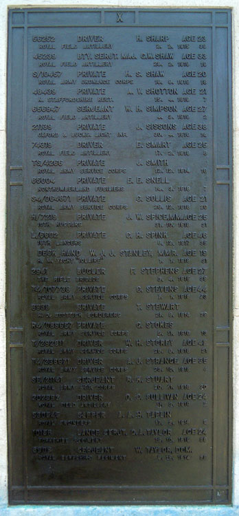 The Screen Wall in Greenwich Cemetery on Which L/Sgt Taylor is Commemorated