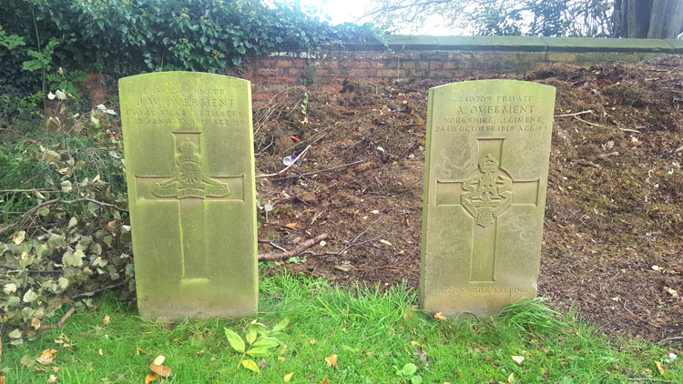 Adjoining Private Arthur Overment's headstone is one for Private John William Overment
