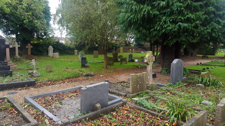 The Overment headstones (right distance) in Tickton (St. Paul) Churchyard