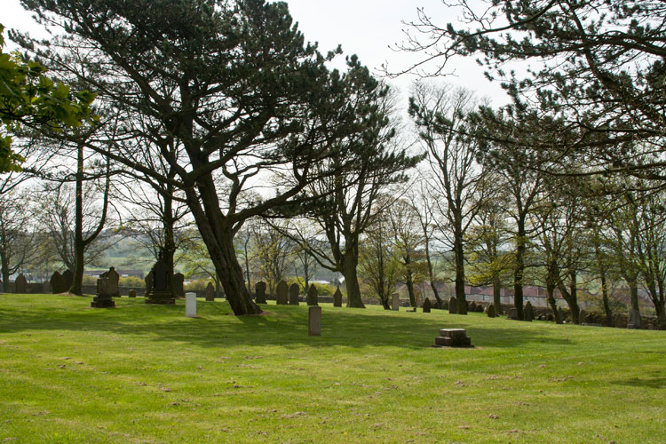 Another general view of the section of Tow Law Cemetery which includes the First World War graves. Private Richardson'sd headstone is out of view on the right.