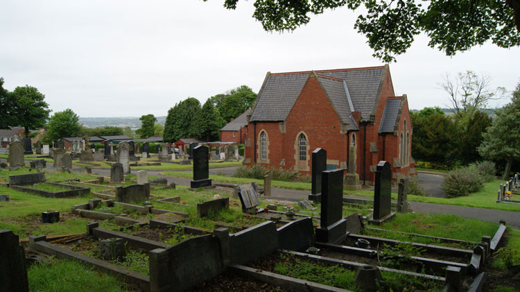 View of Whickham (Garden House) Cemetery.