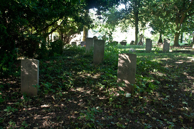 The section of the churchyard in which The Commonwealth War Graves are located (Private Overton's on the right)