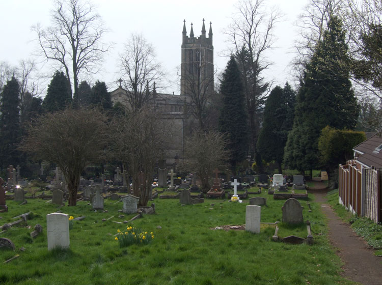 The Wordsley (Holy Trinity) Churchyard, with Private Napier's headstone in the left foreground.