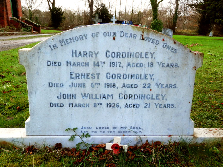 Yarm Cemetery. The headstone commemrating the three Cordingley brothers.