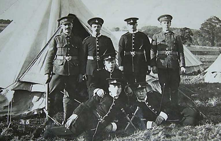 A group of seven soldiers of the Yorkshire Regiment, with James Daynes second from right in the back row.