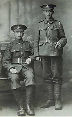 Two soldiers of the Yorkshire Regiment, relatives of the family but names hard to make out. The names look like Jim & Fred Wored ( might be Ward - Gran was not the best of spellers...)