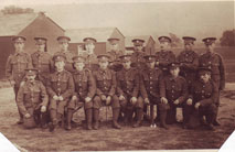 Unidentified Platoon of Bantams. 13th Battalion Yorkshire Regiment. Postcard sent to Mrs F Roberts, 15 Faraday Street, Parliament Road, Middlesbrough.