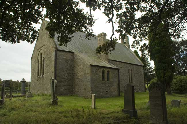 The Parish Church, Muggleswick. Private Hall's grave is in the foreground.