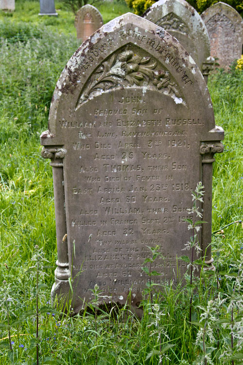 The Russell Family Headstone in Redmire (St. Mary's) Churchyard, on which Thomas and William are Commemorated.