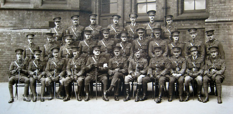 Officers of the 4th Battalion the Yorkshire Regiment, photographed in April 1915.