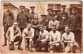 Private Nicholson with a group of fellow soldiers (boxers) from the 9th Battalion.