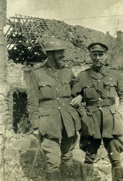 Captain H N Constantine (right) photographed near Arras, April 16th 1917