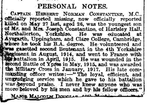 Captain H N Constantine's obituary published in a local newspaper