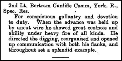 Bertram Cramm's citation from the London Gazette of July 17th 1917