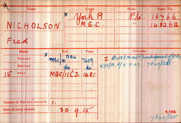 Fred Nicholson's Medal Index Card from the National Archives
