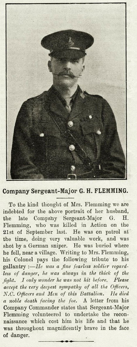 CSM George Henry Flemming, and an obituary from the Green Howards Gazette